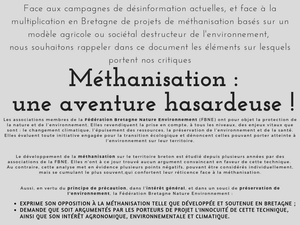 argumentaire méthanisation